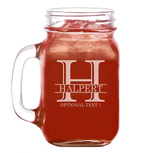 (Personalized Etched Monogram 16oz Mason Jar Glass)