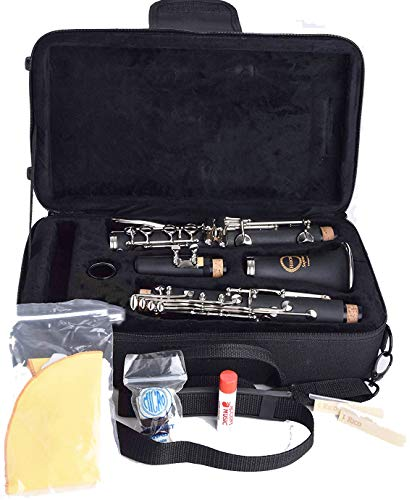 Herche Superior Bb Clarinet M2 - Best for Students - Durable Nickel-Plated Keys - All Clarinet Accessories Included: Plush Lined Case, Treated Pads, Cork Grease, Clarinet Swabs and #2 Rico Reeds