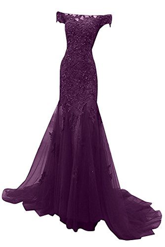 M Bridal Women's Beaded Appliques Cap Sleeve Off Shoulder Mermaid Evening Dress Dark Red Size 12
