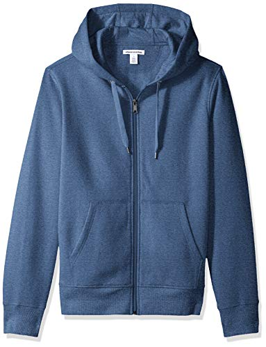 Amazon Essentials Men's Full-Zip Hooded Fleece Sweatshirt, Blue Heather, X-Small