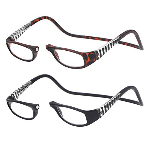 2 Pack Black and Tortoiseshell Frame Front Connect Reading Glasses with Expandable Headband -1.5X
