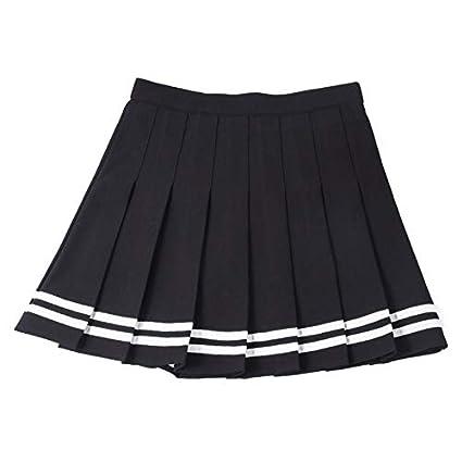 HEHEAB Falda,Costura Negra con Rayas Blancas XS-XXL Una Línea De ...