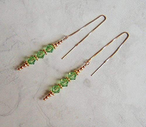 Green Vertical Made with Swarovski Crystal Faux Peridot August Birthstone Gold Filled Ear Thread Earrings Gift Idea (Pull Crystal Light)