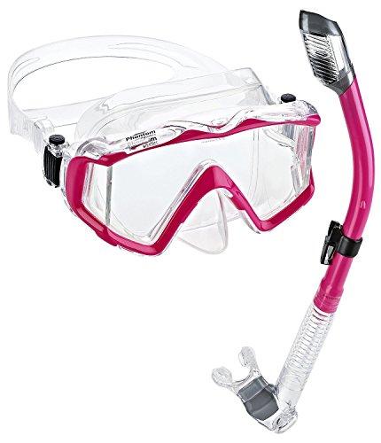 (Phantom Aquatics Panoramic Scuba Mask Snorkel Set, Pink)