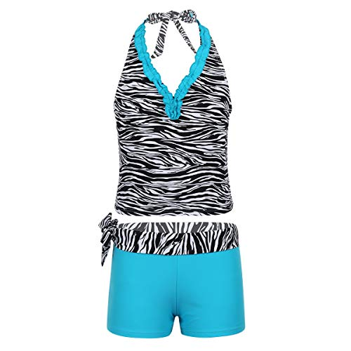 (YiZYiF Big Girl's Youth Tie-Dye Swimwear Tankini Halter 2 Pieces Bathing Suit (14, Zebra Blue))