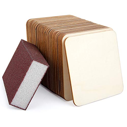 - 36 Pack 4 Inch Unfinished Wood Pieces Plaque Square Blank Wood with Sanding Sponge Round Corner Wood Coasters Wooden Cutouts for Painting, Writing, DIY Arts Crafts Project, Decoration