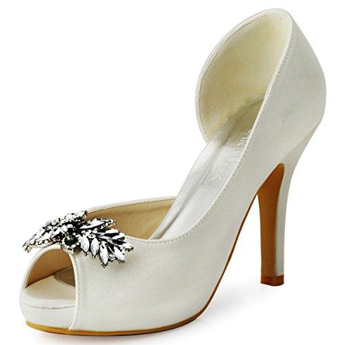 ElegantPark HP1550I Women High Heel Pumps Platform Peep Toe D'Orsay Leaves Rhinestones Satin Bridal Wedding Shoes White US 8 Satin Peep Toe Platform