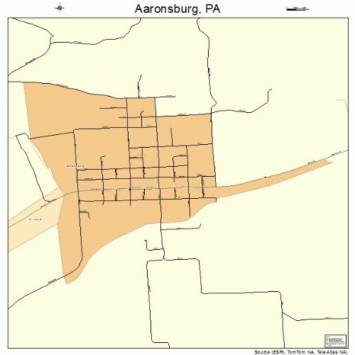 Large Street & Road Map of Aaronsburg, Pennsylvania PA - Printed poster size wall atlas of your home town