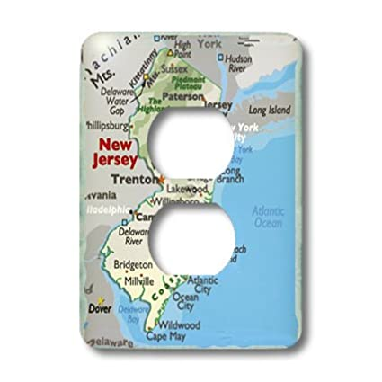 3dRose lsp/_39034/_6 Framed Map Of New Jersey 2 Plug Outlet Cover