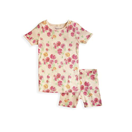 Skylar Luna Girl's Short Sleeve Rose Print Pajama Set - 100% Organic Cotton Shirt Shorts - Roses - Size 6