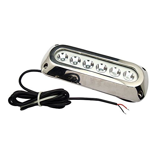 SODIAL(R) 18w White Stainless Steel IP68 Waterproof LED Marine Underwater Light Boat Yacht light by SODIAL(R)