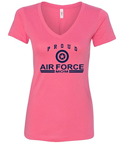 - Proud Air Force Mom V-Neck T-Shirt US Air Force USAF Pink M