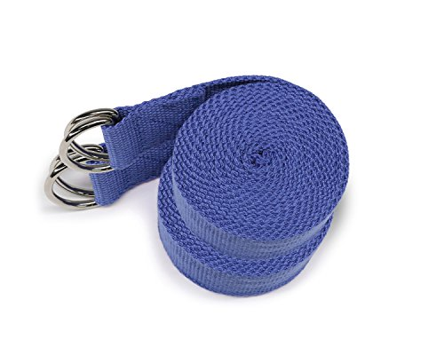Yes4All Cotton Yoga Strap 8 ft with Metal D Ring Multi Color Available (Pair or Single)