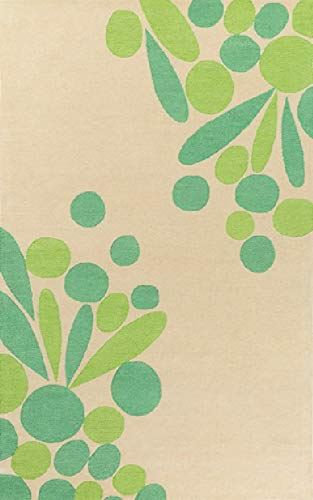 Diva At Home 2' x 3' Flos Agri Light Beige, Jade Green and Lime Hand Tufted Wool Area Throw Rug