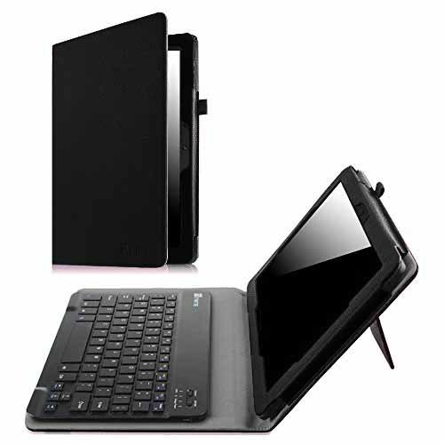 Fintie Keyboard Case for Dragon Touch X10 (Previous Edition, 2015 Release) / Azpen A1050 / Fusion5 108 10.6-Inch Tablet - Premium PU Leather Folio Cover with Removable Wireless Bluetooth Keyboard, Bla