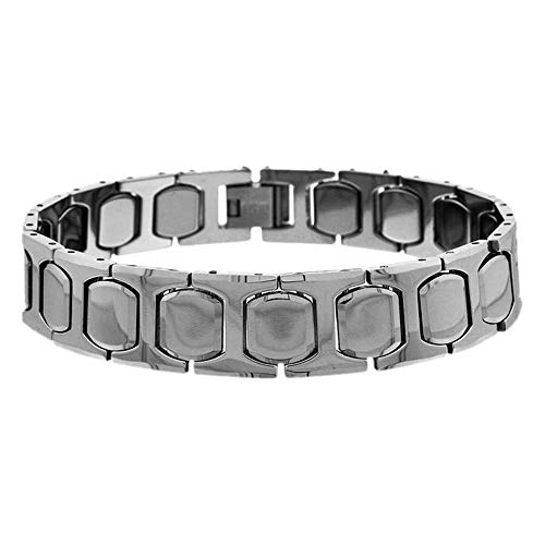 (Double Accent 13MM Tungsten Carbide Mens Bracelet Cushion & H Shaped Link Magnetic Bracelet (Size 8, 7.75 Inches), 7.75)