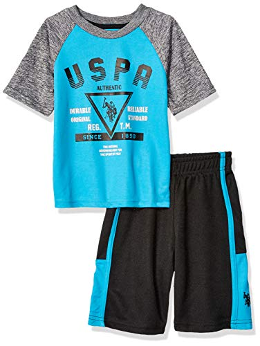 U.S. Polo Assn. Boys' Big 2 Piece Sleeve Athletic T-Shirt and Short Set, Bright Blue Sport Turquoise, 12
