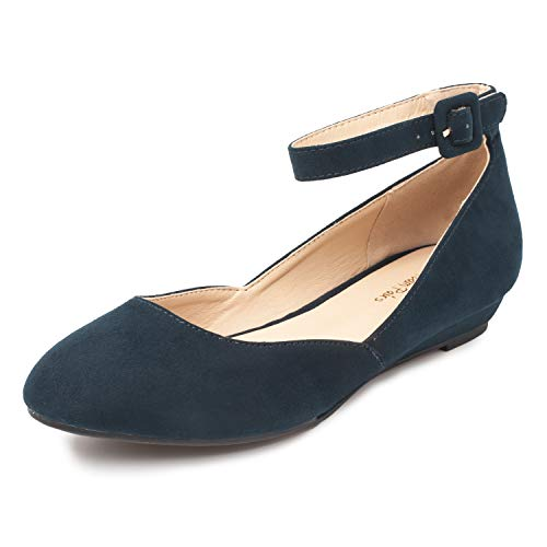Ankle Strap Ballet Heels - DREAM PAIRS Women's Revona Navy Suede Low Wedge Ankle Strap Flats Shoes - 9 B(M) US
