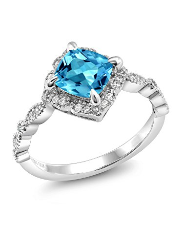 925 Platinum Plated Sterling Silver Swiss Blue Topaz Women's Ring (2.19 Ct Cushion Cut Gemstone Birthstone Available in size 5, 6, 7, 8, 9) (Platinum Price Patron)