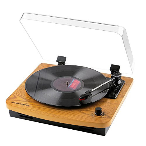Musitrend LP 3-Speed Turntable with Built-in Stereo Speakers, Vintage Style Record Player Support Vinyl-To-MP3 Recording, RCA Output, Natural Wood by MUSITREND