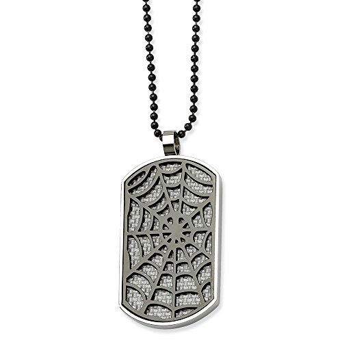 Stainless Steel Polished Reversible IP black-plated Fancy Lobster Closure Grey Carbon Fiber Spider Web Dog Tag Necklac