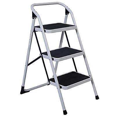 Oshion 3 Step Ladder Platform Folding Stool 330lbs Capacity Non Slip Safety Tread Space Saving Industrial Home Use