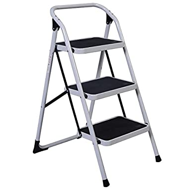 Giantex Hd 3 Step Ladder Platform Lightweight Folding Stool 330 Lb Cap. Space Saving