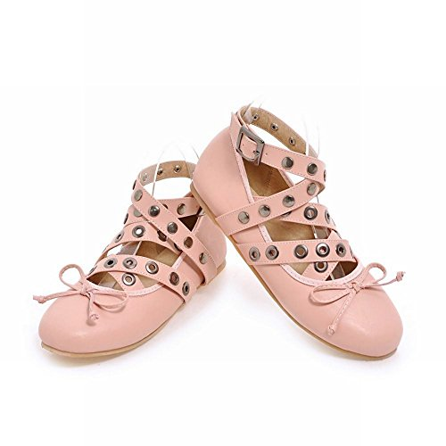 Charm Foot Womens Chic Ankle Strap Studded Flats Pumps Shoes Pink shWntWCCeb