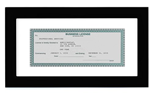 Americanflat Business License Frame - Display Business Licenses 3.5x8 Inches with Mat - Display Business Licenses 5x10 Without Mat - Standard Business Licenses, Real Estate License and Bank Checks