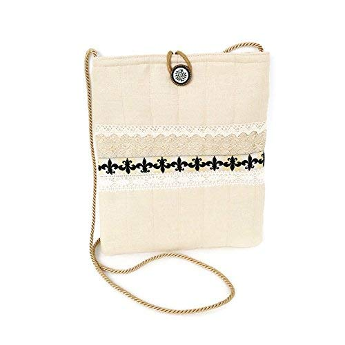Amazon.com  Boho Crossbody Bag Linen and Lace Romantic Wedding Purse   Handmade bb48806a168e7