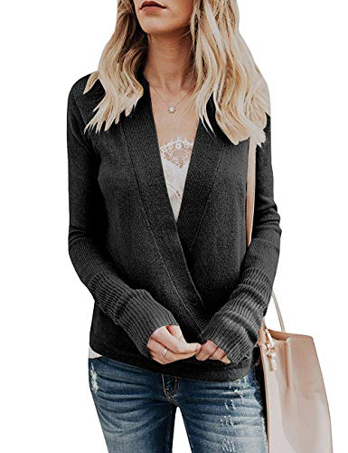Paris Hill Womens Knitted Deep V-Neck Long Sleeve Wrap Front Loose Sweater Pullover Jumper Tops Black Small by Paris Hill (Image #1)
