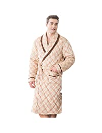 DMMSS Men 's Pajamas Laminated Cotton Nightgown Loose Home Service in the Long Bathrobes , xl