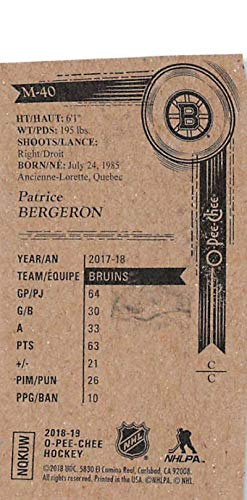 18-19 UD OPC NHL Card 2018-19 O-Pee-Chee Hockey Mini Black #M-40 Patrice Bergeron Boston Bruins