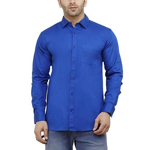 d537bad932 GoButtonskart Mens Casual Full Sleeve Cotton Plain Shirts Royal Blue Color  (17-3XL)