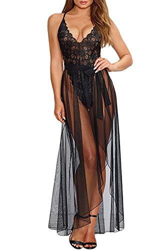 Women Nightwear Lingeries Black Floral Lace Bodysuits Teddy Rompers with Mesh Skirt Dress ()