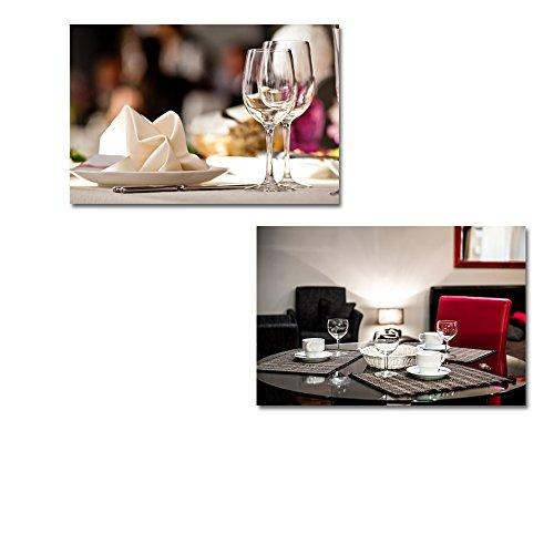 Empty Glasses Set in Restaurant 2 Panel ing x 2 Panels