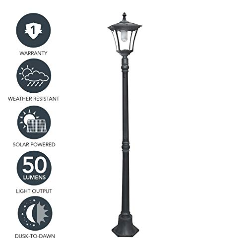 (Sterno Home GL23716BK Outdoor Solar LED Street Light, for Patio, Post Light, Garden, 80