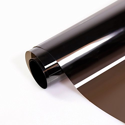 Window Film Anti UV Sun Blocking Heat Control Daytime Privacy Adhesive Window Glass Tint for Home and Office - Brown 35.5in x 118in