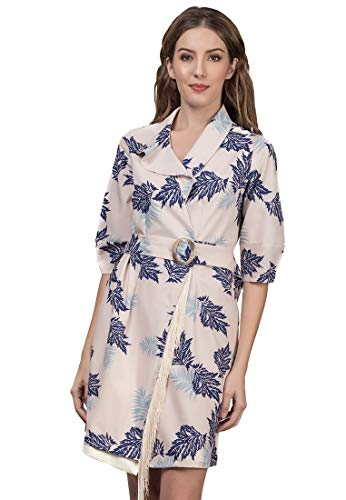 Plains and Prints Womens #Blue Period Azura Short Sleeves Dress Medium Multi (Azura Wrap)