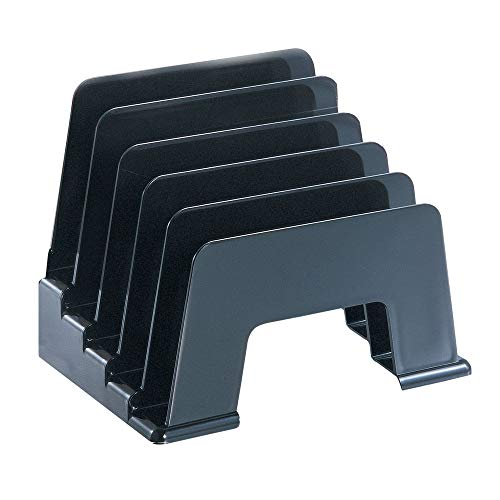 File Separator Vertical Recycled Incline Sorter 5 Individual Compartments, Stepped for Easy Access to Contents Perfect for Letter, Notes, Etc Made from 30% Recycled Plastic Black 8 X 5.5 X 6.1 Inches