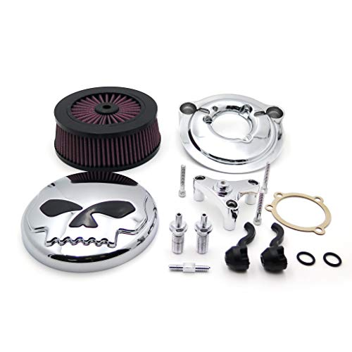 XKH- Replacement of Chrome Skull with Black Eyes Air Cleaner Intake Filter System Kit For Harley Davidson 2007-later XL Sportster 1200 Nightster 883 XL883 Low XL1200L Seventy Two Forty ()