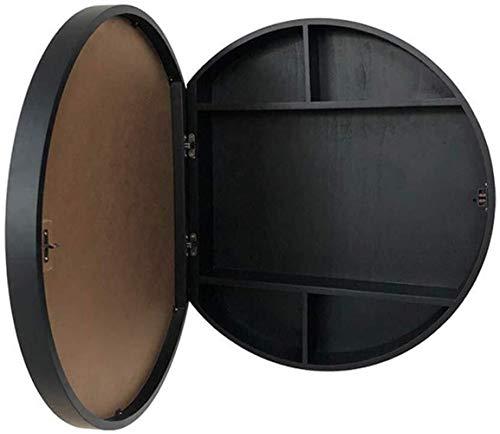 JIANGLI Round Bathroom Mirror Cabinet, Wall-Mounted Vanity Mirror, Laundry Room, Wooden Storage -