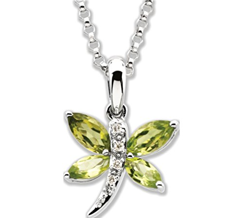 14k White Gold Peridot Marqise and Diamond Dragonfly Pendant Necklace. 18'' by The Men's Jewelry Store (for HER)