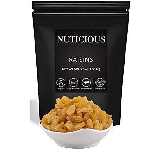 NUTICIOUS Natural Premium Raisins (Kishmish)-900 gm (Gourmet Vegan Food Premium Quality)