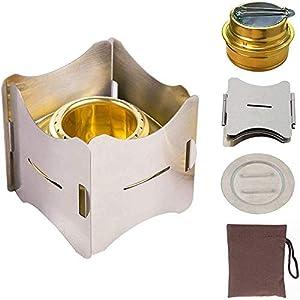 アルコールストーブ バーナー 小型 コンパクト 携帯便利 軽量 収納袋付き 折りたたみ式