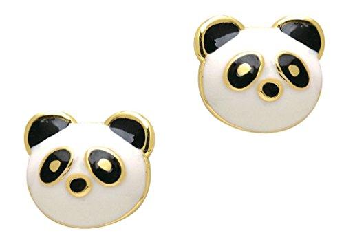 (Girl Nation Little Treasures Collection Enamel Sweet Panda Post Earrings )