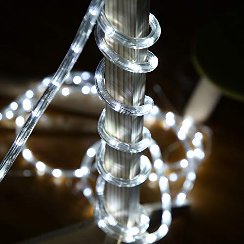 50ft 360 LED Waterproof Rope Lights,110V Connectable Indoor Outdoor Led Rope Lights for Deck, Patio, Pool, Camping, Bedroom Decor, Landscape Lighting and More (White)
