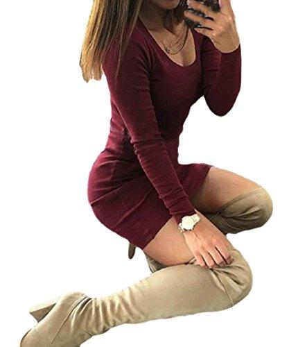 Paletta Del Collo Bodycon Lunga Vino Abito Donne Sexy Mini Jaycargogo Rosso Manica Delle Club Ewq6TdF