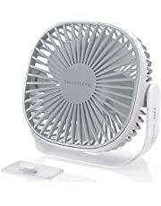 SmartDevil Small Rechargeable Desk Fan, 3 Speeds 2000mAh Portable Personal Battery Operated Desktop Fan with Pasteable Hook, Dual 360° Adjustment Quiet Table Fan, for Home Office Outdoor (White)