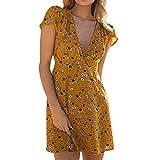 Women's Spring Summer Sexy Boho Midi Dress Floral Chiffon V Neck Dress Vintage Dress Beach Dress (Yellow, L)